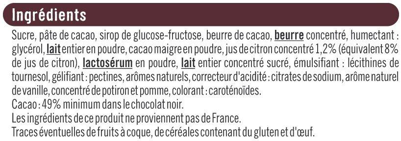 Noir fourré citron et ganache - Ingrédients