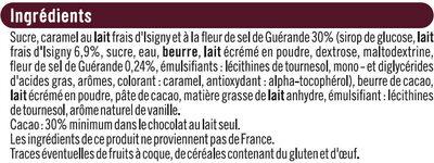 Chocolat lait four.caramel et lait frais Isigny et fleur de sel Guérande, - Ingrédients