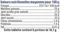 Chocolat au lait au pop corn - Informazioni nutrizionali - fr