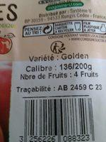 Pomme golden delicious, 4 fruits calibre 136/165 catégorie 2 - Ingrédients - fr