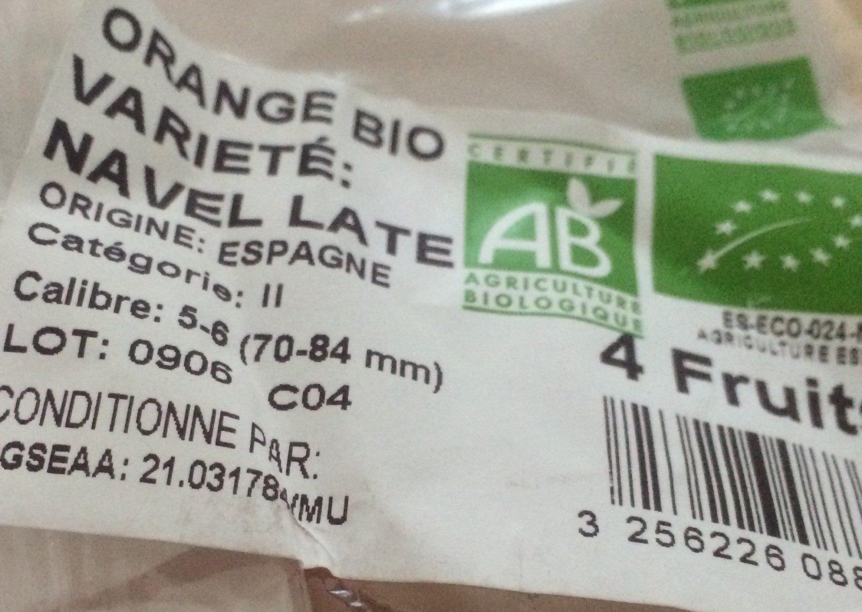 Orange Navelate, 4 fruits calibre 5/6 catégorie 2 - Ingrediënten