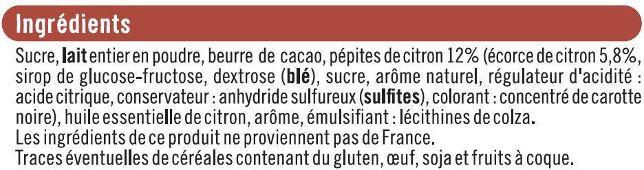 Blanc écorces de citron - Ingrédients