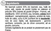Emincé de poulet au curry et riz - Ingredients