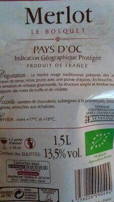 Vin rouge Pays d'Oc Merlot IGP Le Bosquet Bio - 4