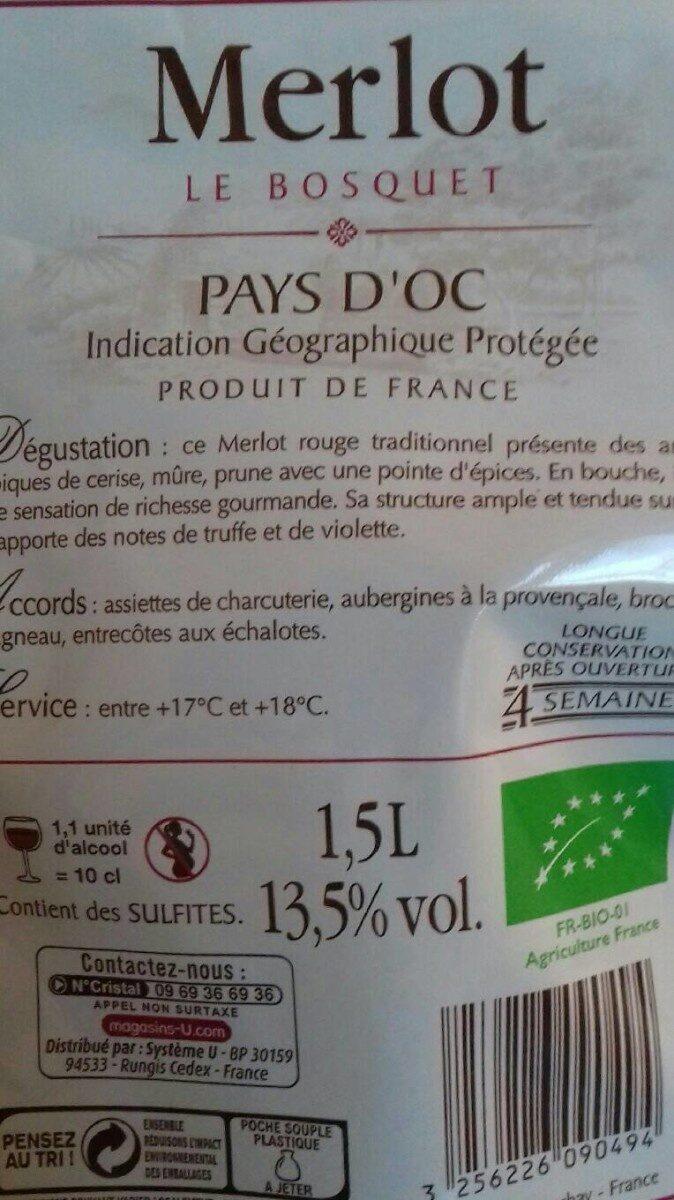 Vin rouge Pays d'Oc Merlot IGP Le Bosquet Bio - Ingrédients - fr