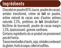 Milk shake chocolat - Ingredients