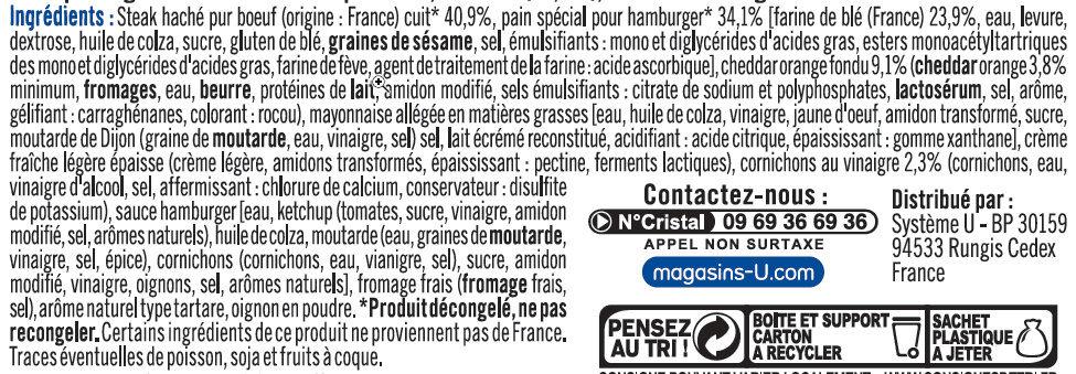 Big cheese burger double steak haché 100% pur boeuf - Ingrédients