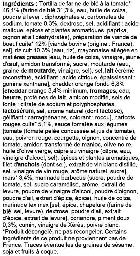 Galette de farine de blé garnie de préparation à base de viande de boeuf de fromage fondu d'haricots rouges maïs et riz - Ingrédients - fr