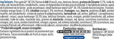 Cheese burger - Ingrédients - fr