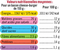 Bacon Cheese Burger - Informations nutritionnelles - fr