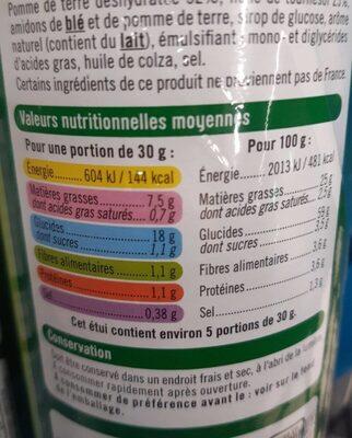 Tuiles goût crème oignon - Informations nutritionnelles - fr