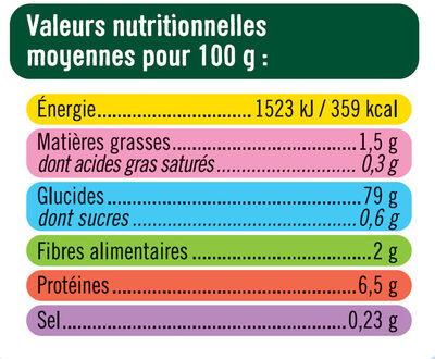Coquillettes sans gluetn - Informations nutritionnelles - fr