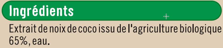 Lait de coco issu de l'agriculture biologique Bio - Ingrediënten - fr