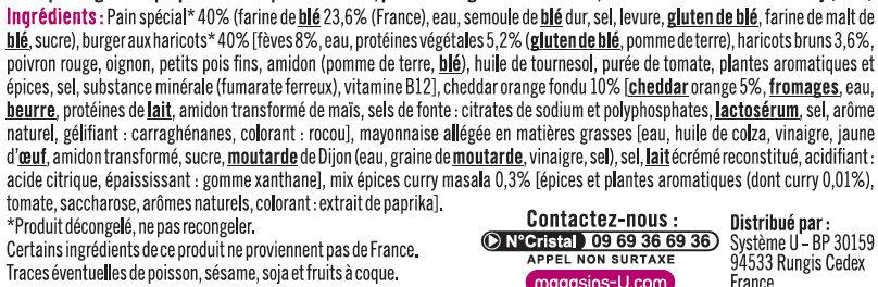 Burger galette aux fèves cheddar et sauce curry Massala, bon & végetarien - Ingrédients - fr