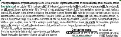 Burger, galette aux fèves, mozzarella, sauce au pesto, - Ingrédients - fr