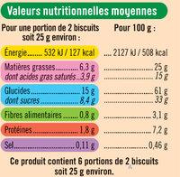 Tablette petit beurre au chocolat noir - Informations nutritionnelles - fr