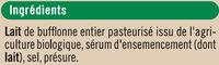 Fromage AOP Mozzarella di bufala campana biologique 27% de MG - Ingredients