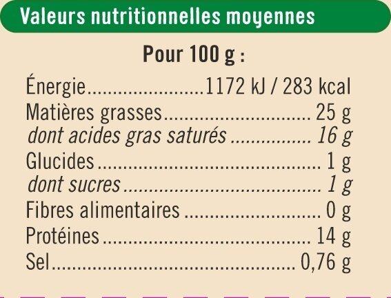 Fromage AOP Mozzarella di bufala campana biologique 27% de MG - Nutrition facts