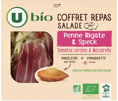 Coffret repas: salade penne rigate & speck, tomates cerises & mozarella + 1 madeleine + 1 coupelle de vinaigrette - Produit - fr