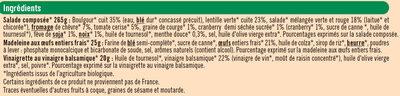 Coffret repas: salade boulgour & chèvre, graines de courges, cranberries et noix + 1 madeleine + 1 coupelle de vinaigrette - Ingredients