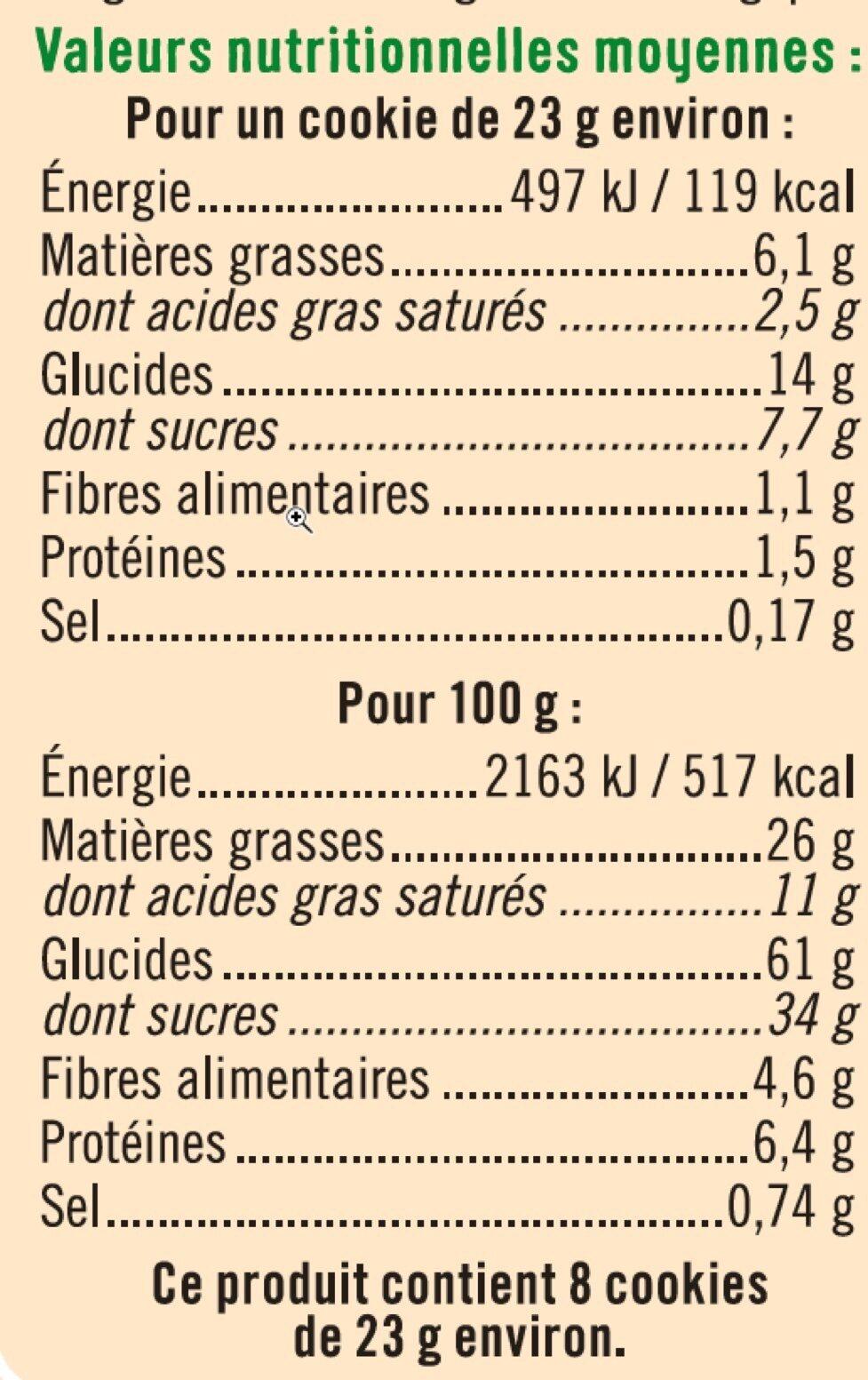 Cookies maxi pépites de chocolat - Informations nutritionnelles - fr
