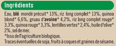 Céréales quinoa lentilles à l'huile d'olive 2% - Ingredients