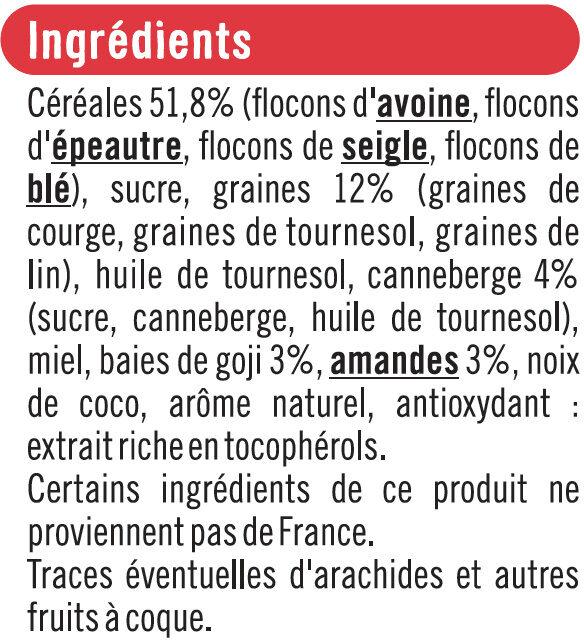 Muesli granola fruits rouges - Ingredients