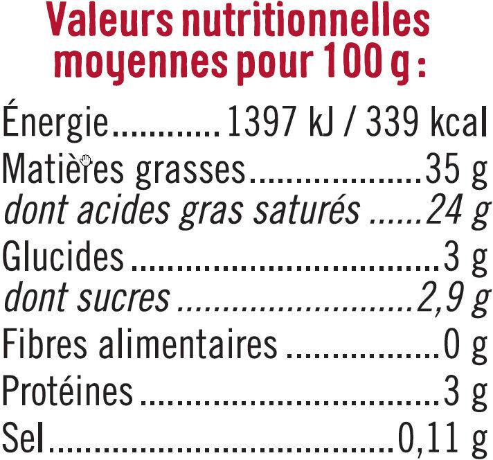 Crème fraîche épaisse de brebis 35% de MG - Informations nutritionnelles