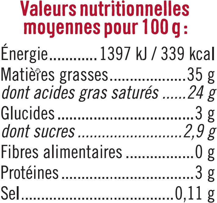 Crème fraîche épaisse de brebis 35% de MG - Informations nutritionnelles - fr