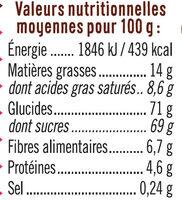 Vermicelles chocolat - Informations nutritionnelles - fr