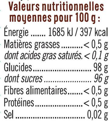 Vermicelles multicolores - Informations nutritionnelles