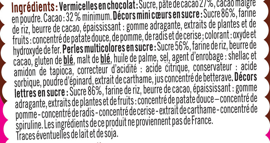 Multidécors - Ingredients