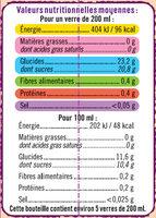 Nectar prune-cassis édition limitée - Informations nutritionnelles