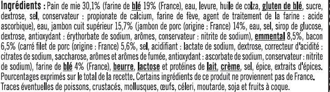 Croque bistrot jambon supérieur emmental et bacon - Ingrédients - fr