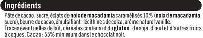 Chocolat noir Eclats de noix de macadamia caramélisés - Ingrédients