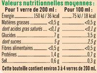 Pur jus de tomate salé à 3g/l - Nutrition facts