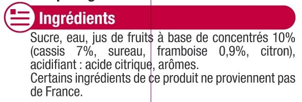 Sirop de grenadine - Ingrediënten - fr
