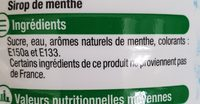 Sirop de menthe - Ingrédients - fr