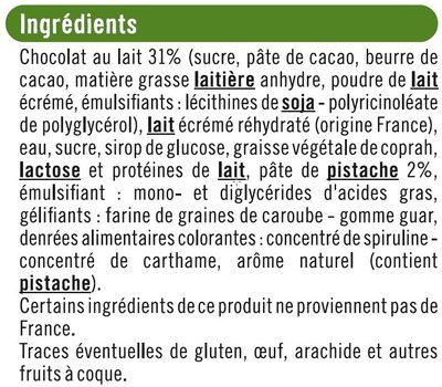 Bâtonnets envie de glace pistache - Ingredients