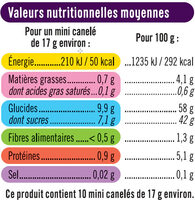Mini cannelés de Bordeaux - Nutrition facts - fr