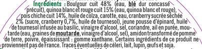 Boulgour quinoa rouge et blanc, pois chiches et cranberries - Ingrédients - fr