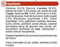 Barre de céréales fruits rouges - Ingredients