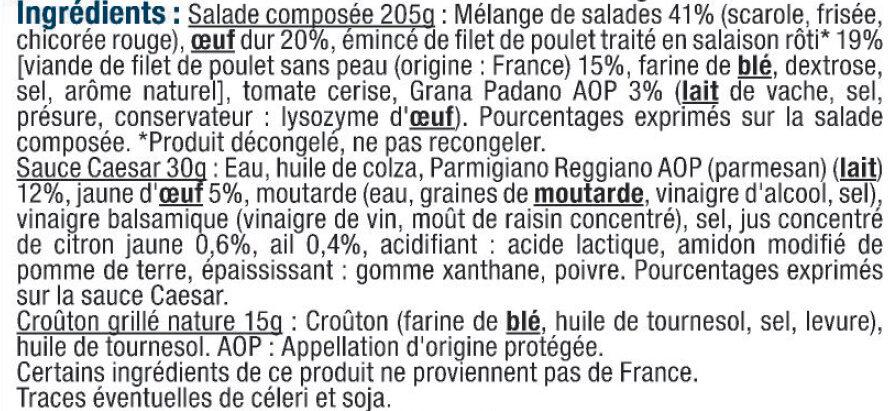 Salade poulet rôti et croûtons de Grana Padano AOP - Ingrédients