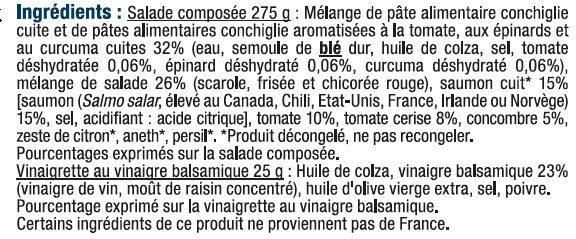 Salade de conchiglie au saumon et tomate cerise - Ingrediënten - fr