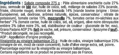 Salade Orecchiette Bresaola, mozarella et olives - Ingrédients - fr