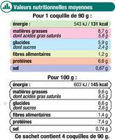 Coquilles St Jacques MSC 30% noix cuisinées à la bretonne - Voedingswaarden - fr