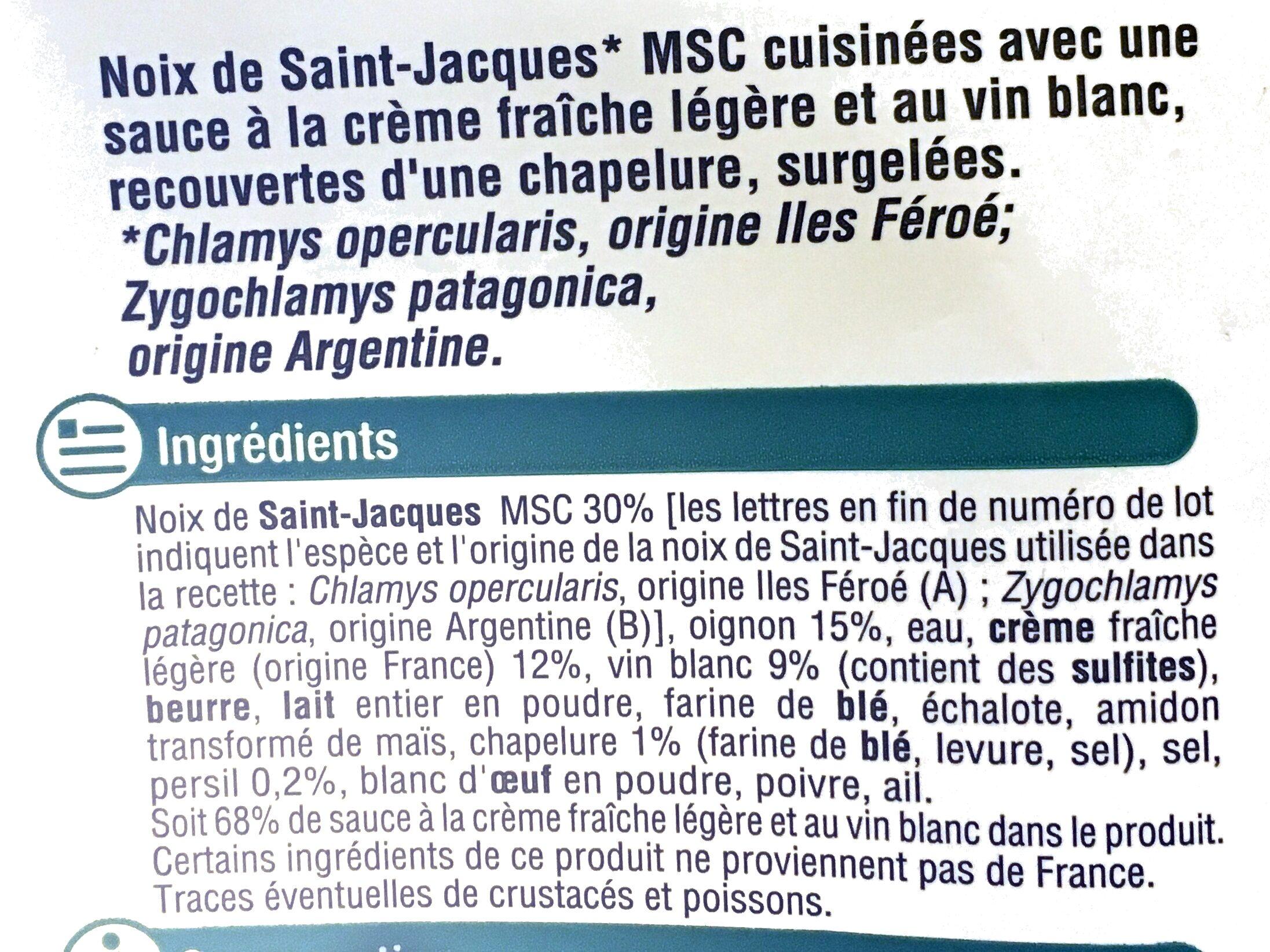 Coquilles St Jacque MSC 30% de noix cuisiné à la bretonne - Ingrédients - fr