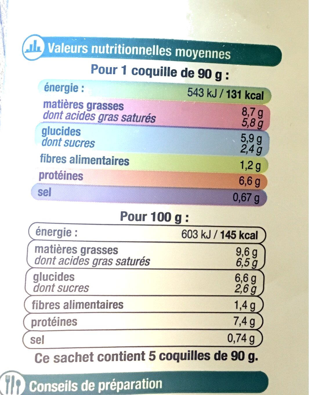 Coquilles St Jacque MSC 30% de noix cuisiné à la bretonne - Informations nutritionnelles - fr