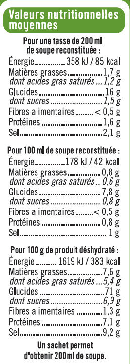 Soupe instantanée aux asperges et croûtons - Informations nutritionnelles