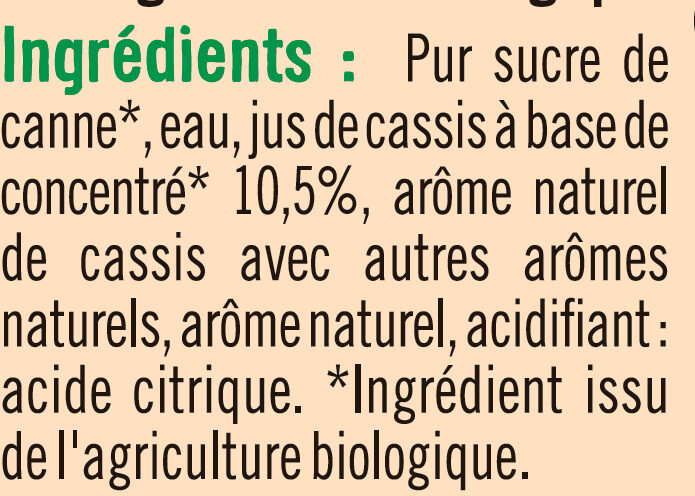 Sirop cassis - Ingrédients - fr